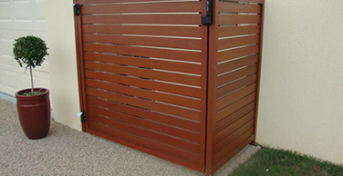 timber look slat gate and fence